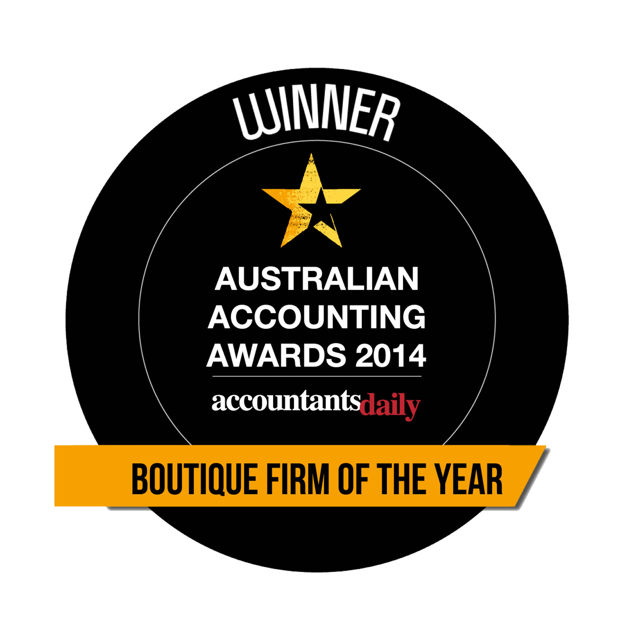 Aust Accounting Awards BOUTIQUE FIRM OF THE YEAR 2014